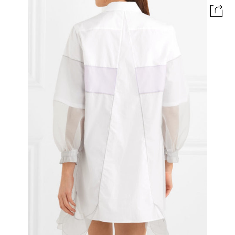 Prada Tulle Paneled Cotton Poplin Mini Dress