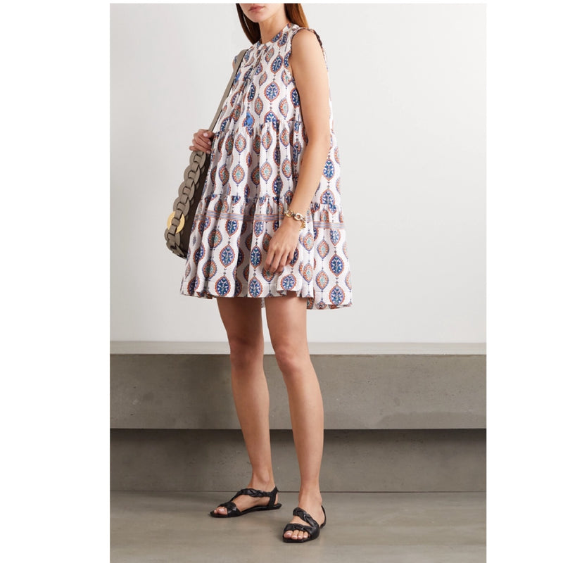 Chloé Tiered Silk Mini Dress