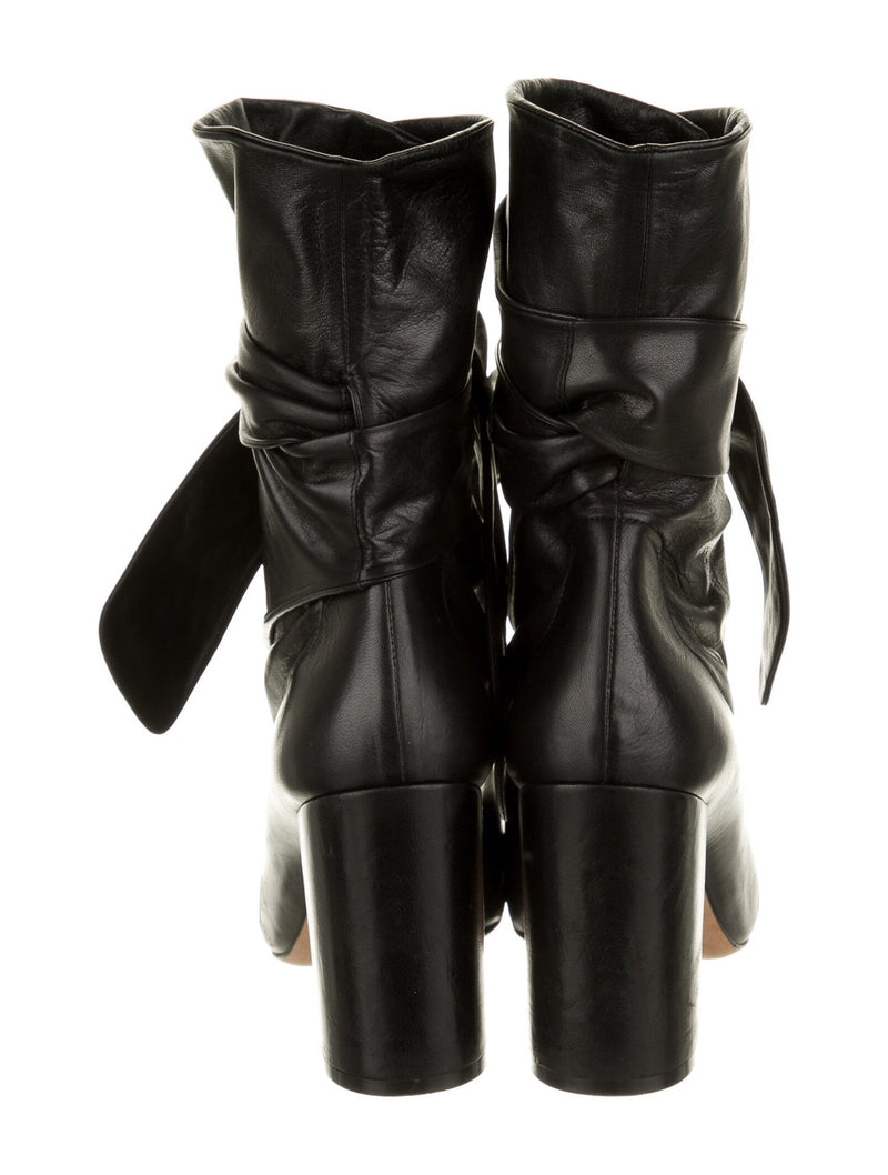 Christian Dior Leather Ankle Tie Boots