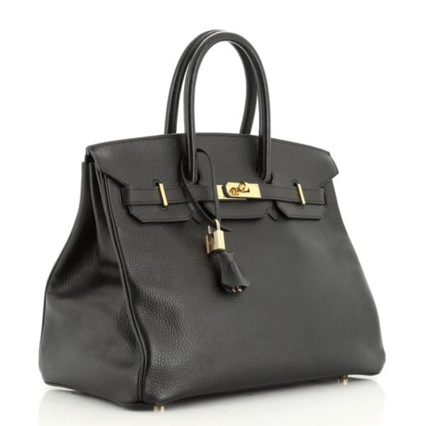 Hermès Birkin 35 Noir Ardennes with Gold Hardware