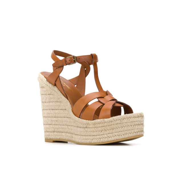 Saint Laurent Tribute Wedge Espadrille Sandal