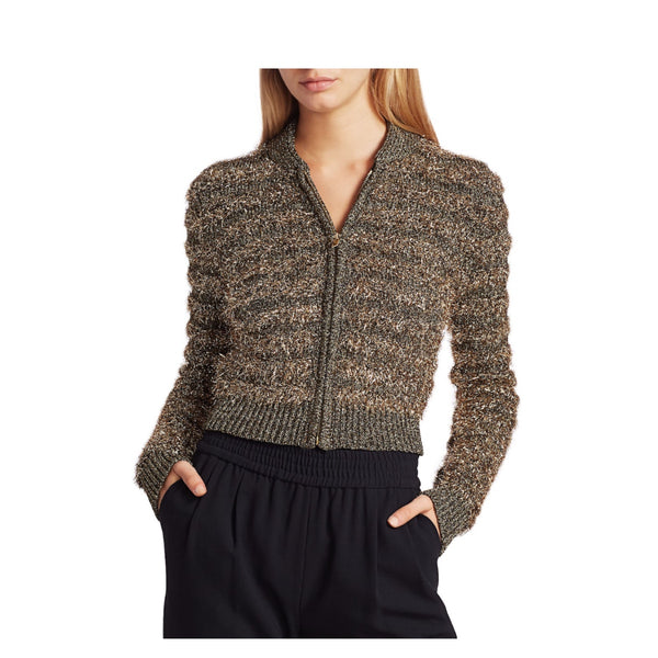 Michael Kors Collection Textured Metallic Zip Sweater