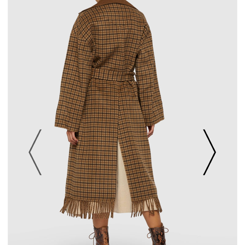 Nanushka Alamo Check Fringe Belted Wool Coat