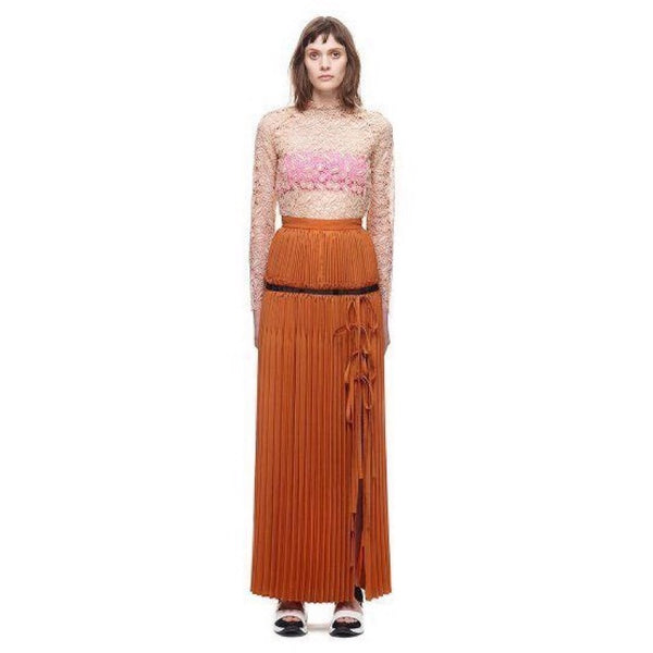 Self-Portrait Lena Pleated Maxi Skirt