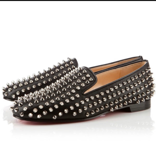 Christian Louboutin Suede Spiked Slip On Smoking Shoes