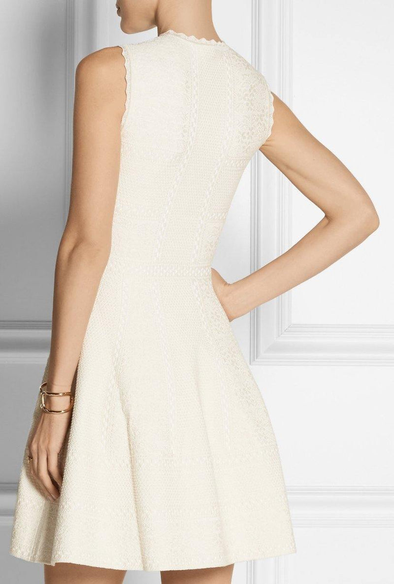 Alexander McQueen Ecru Jacquard Knit Mini Dress