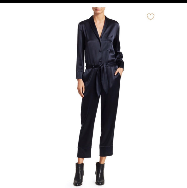 Nanushka Navy Satin Jumpsuit