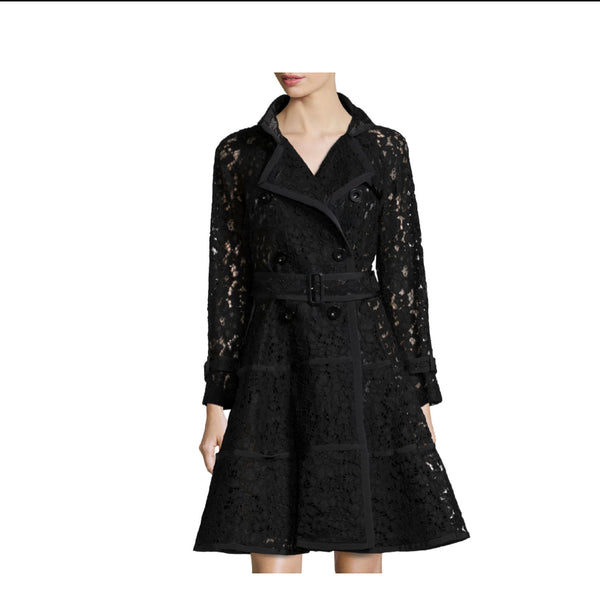 Sacai Lace Fit-and-Flare Trench