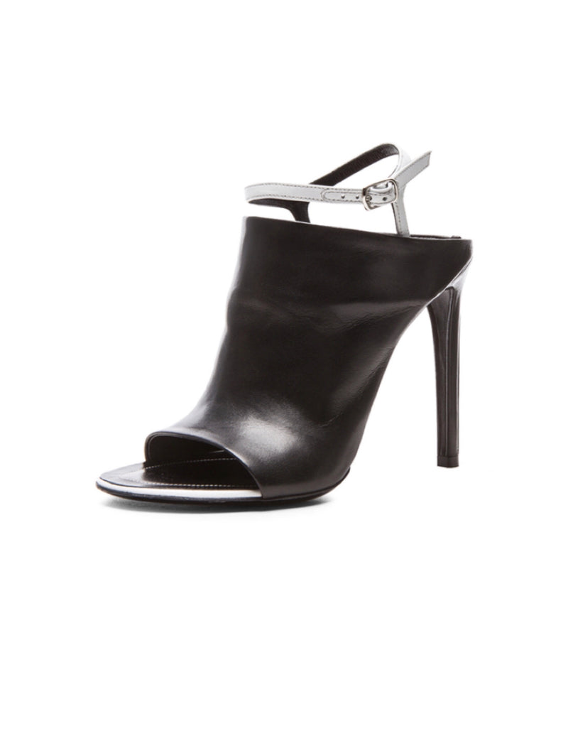 Balenciaga Open-Toe Leather Mule