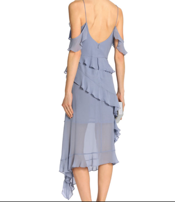 Nicholas Asymmetric Ruffled Silk-Chiffon Dress