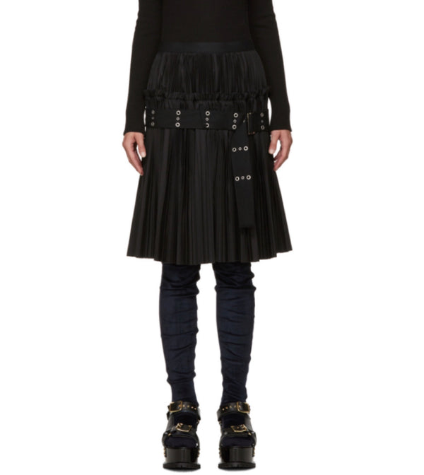Sacai Belted Black Pleated Skirt