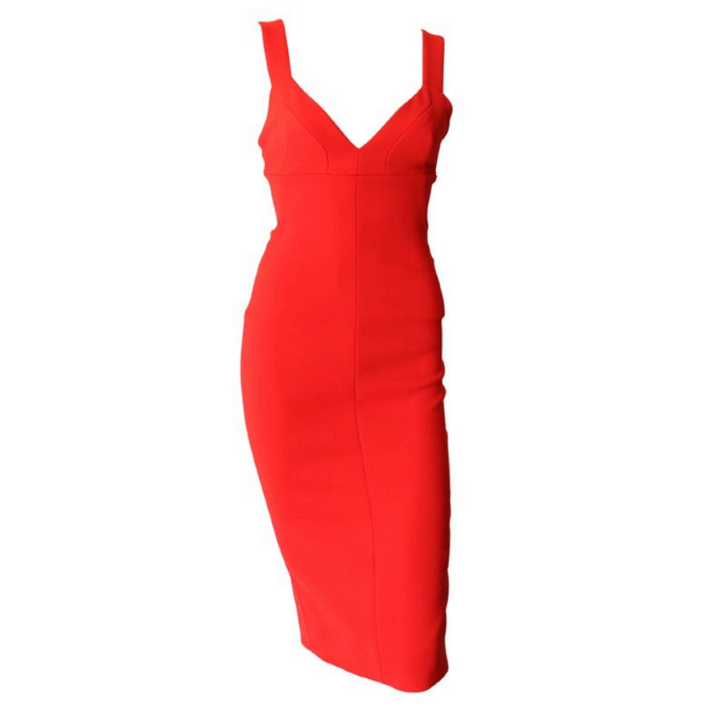 Victoria Beckham Midi Dress with Exposed Zipper