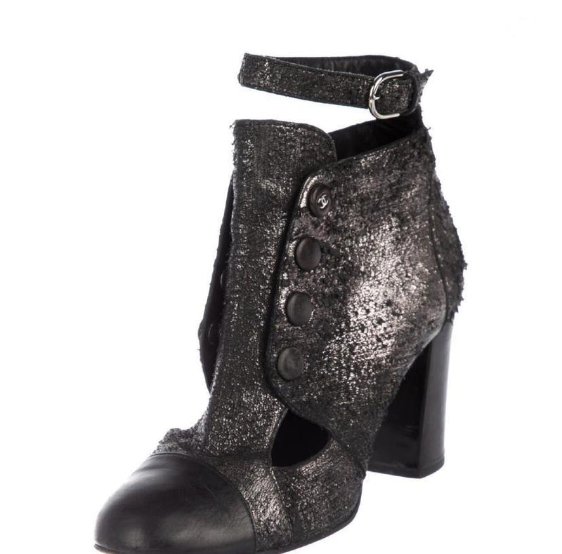 Chanel Distressed Metallic Booties