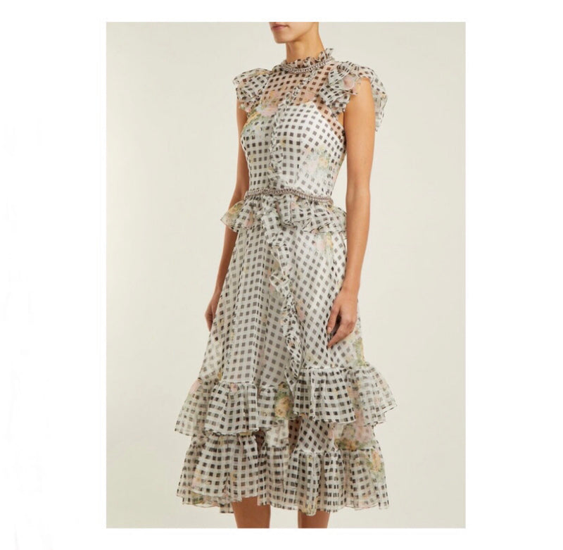 Christopher Kane Gingham Floral Dress