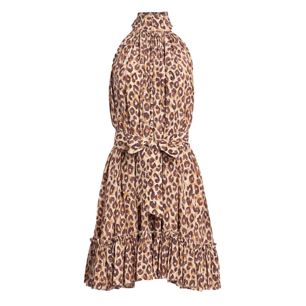 Zimmermann Super 8 Leopard Halterneck Mini Dress