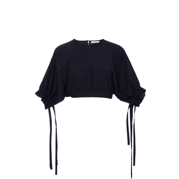 Tibi Seamed Cropped Blouse