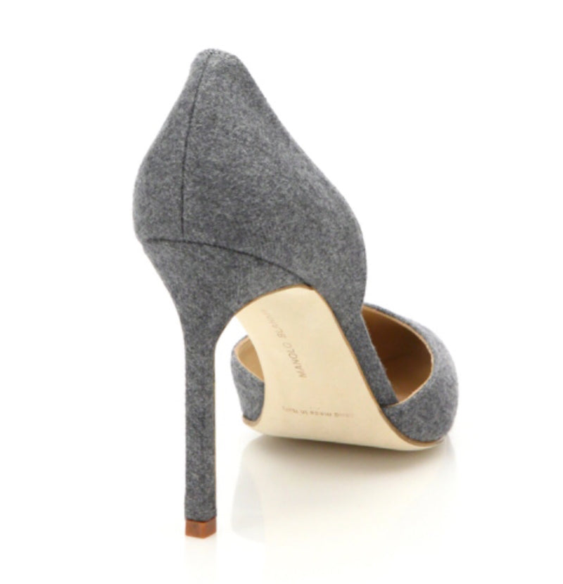 Manolo Blahnik Taylor D'Orsay Pump in Grey Denim