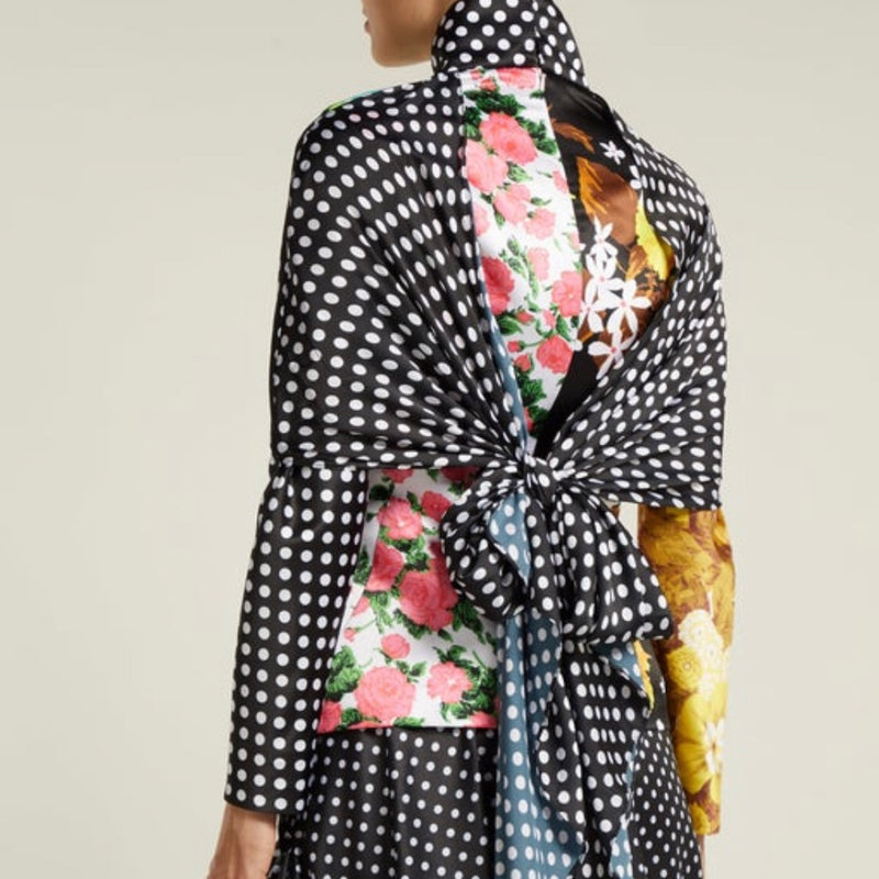 Richard Quinn Floral And Polka Dot Satin Top