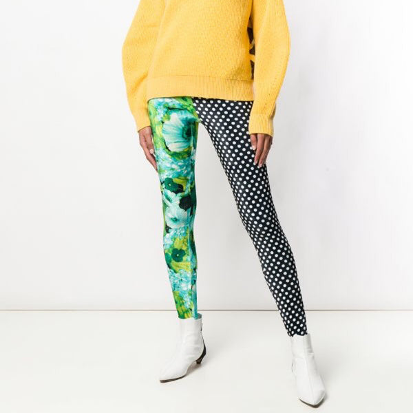 Richard Quinn Velvet Floral And Polka Dot Leggings