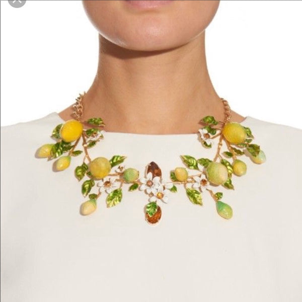 Dolce & Gabbana Lemon Print Crystal Statement Necklace