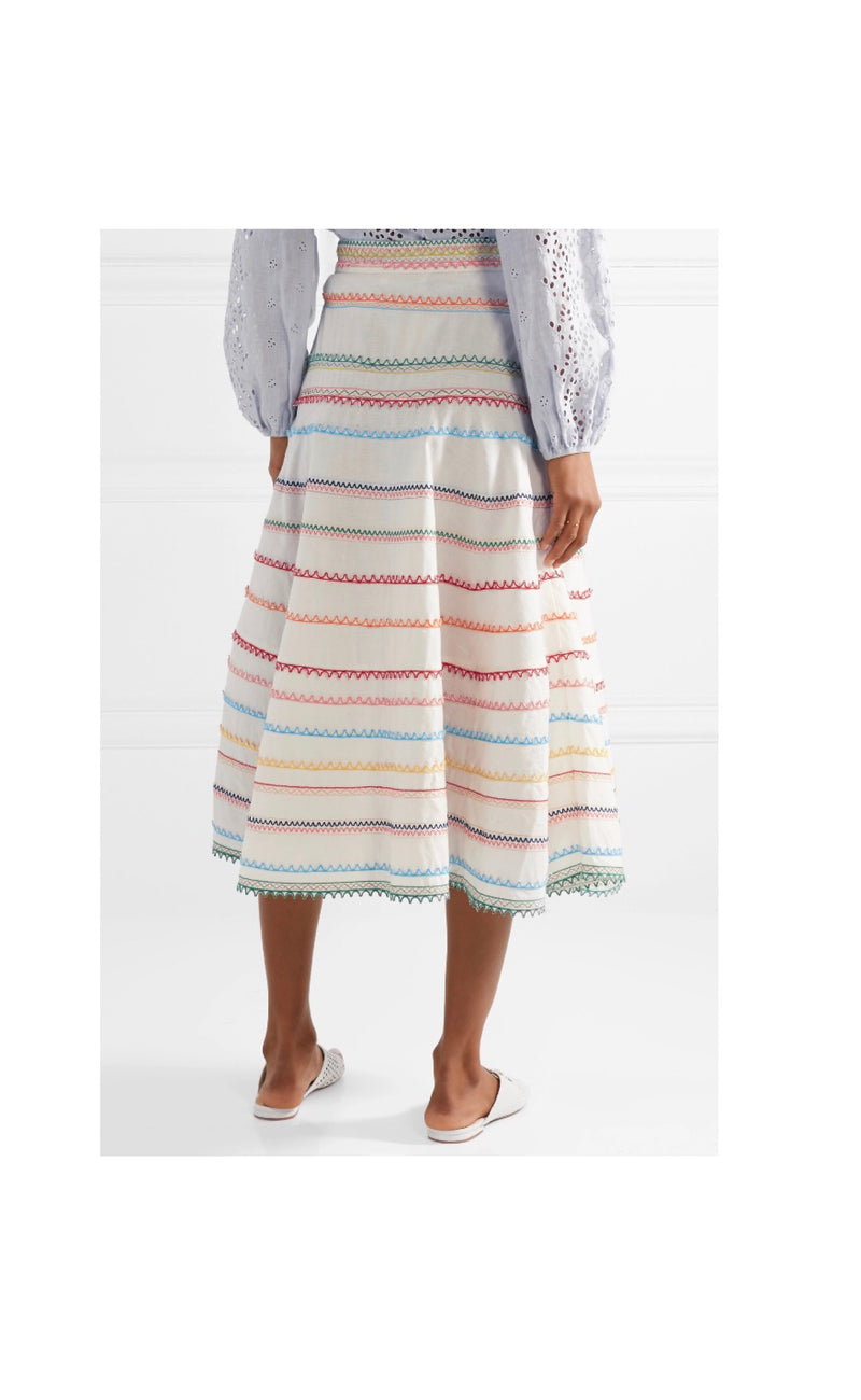 Zimmermann Laelia Embroidered Skirt