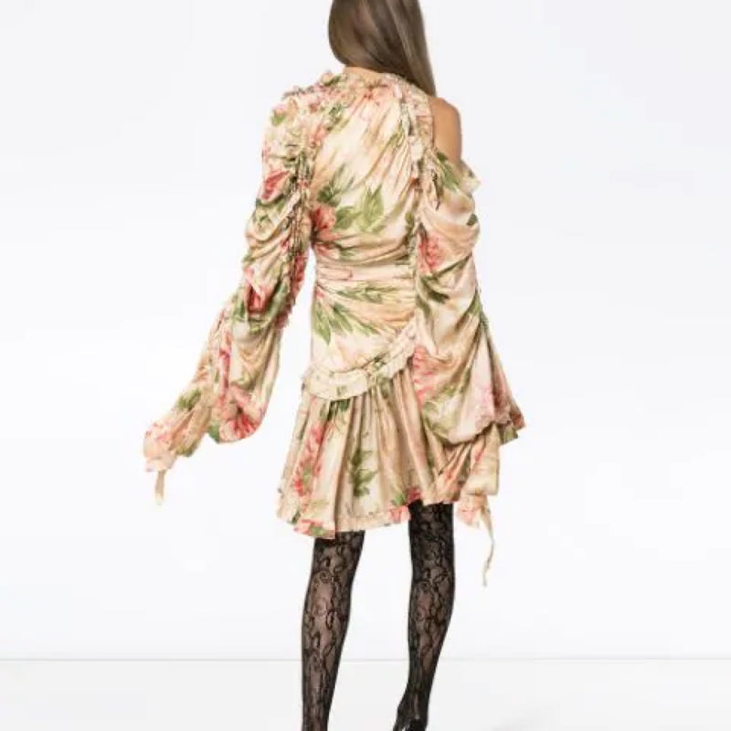 Zimmermann Asymmetrical Floral Ruffle Dress