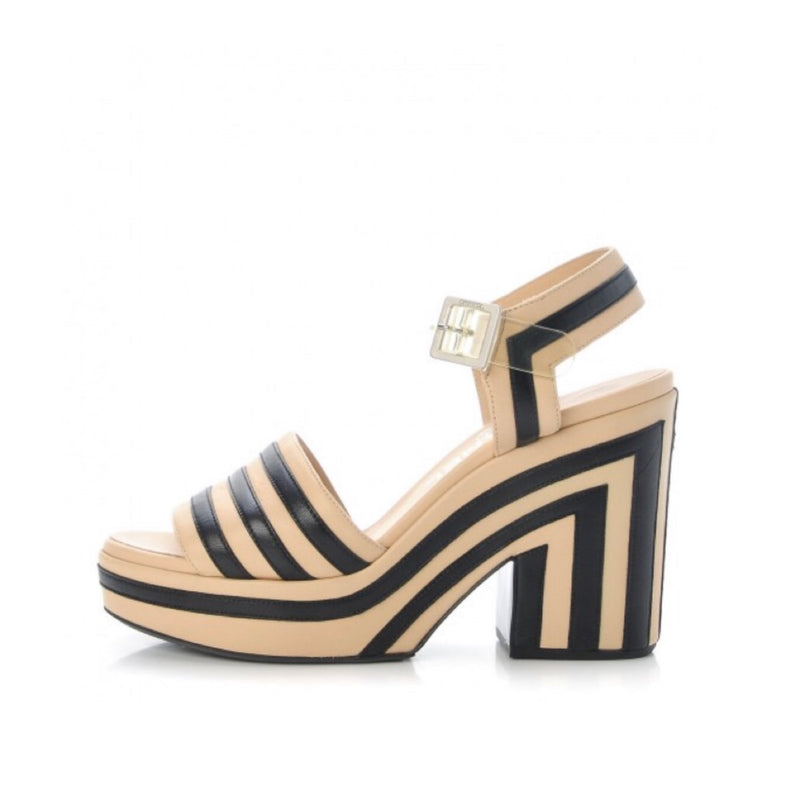 Chanel Striped Platform Sandals