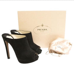 Prada Suede Backless Platform Mules
