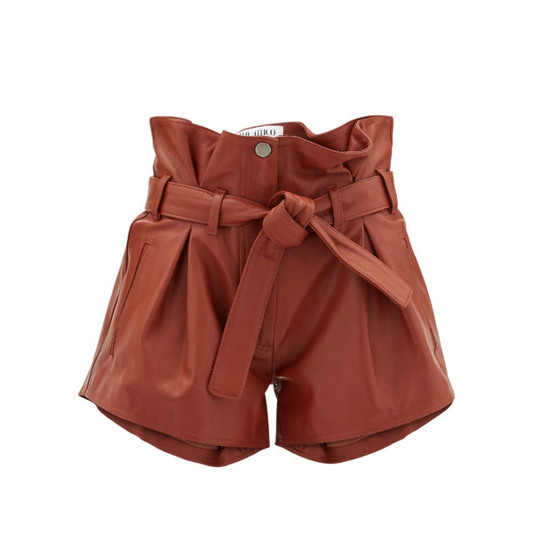 Attico Pleated Leather Shorts