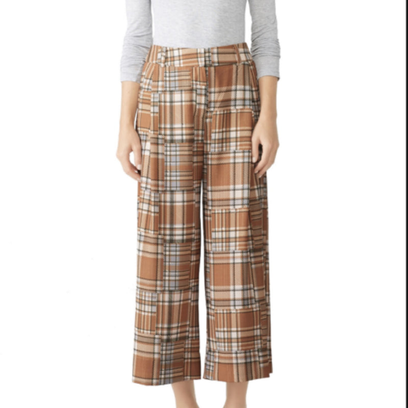 PatBo Plaid Wide Legged Cropped Trousers