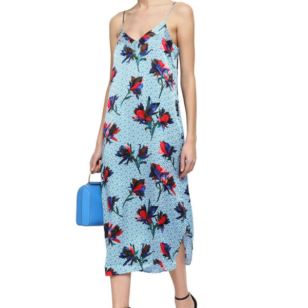 Equipment Floral Silk Midi Slip Dress