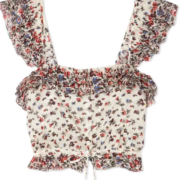 LoveShackFancy Mia Floral Crop Top