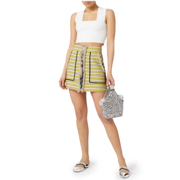 Veronica Beard Lyndon Fringed Stripe Skirt