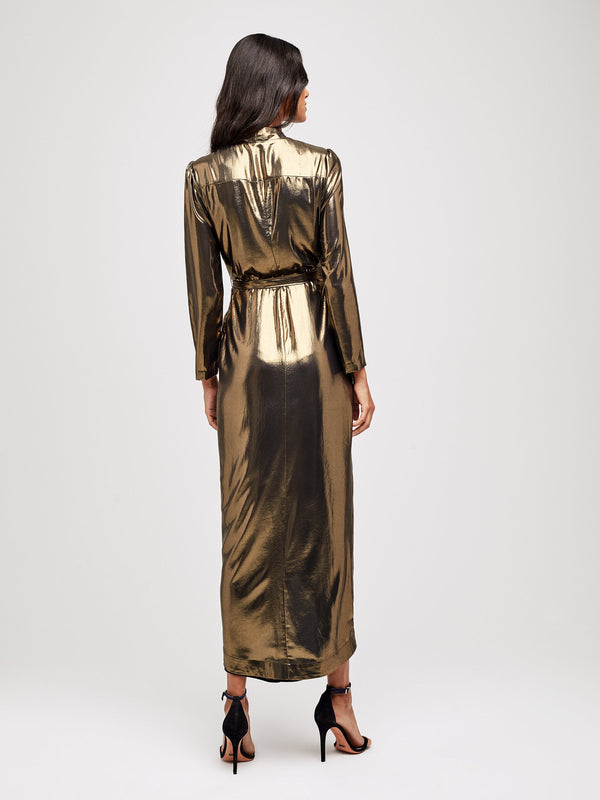 L'Agence Reliah Gold Lame Wrap Dress