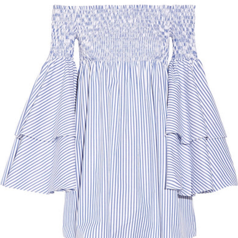 Caroline Constas Apolonia Striped Off The Shoulder Dress
