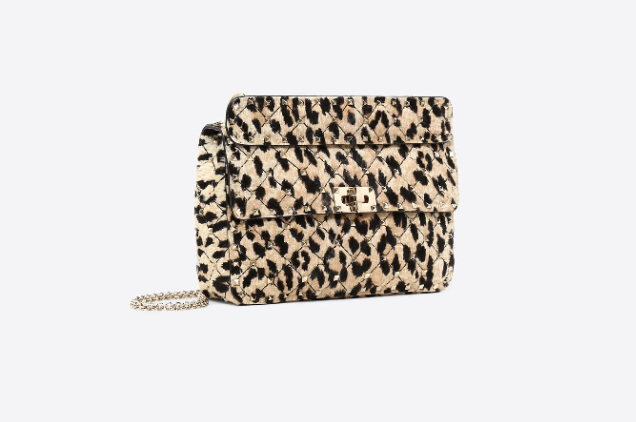 Valentino Leopard Pony Spike Shoulder Bag