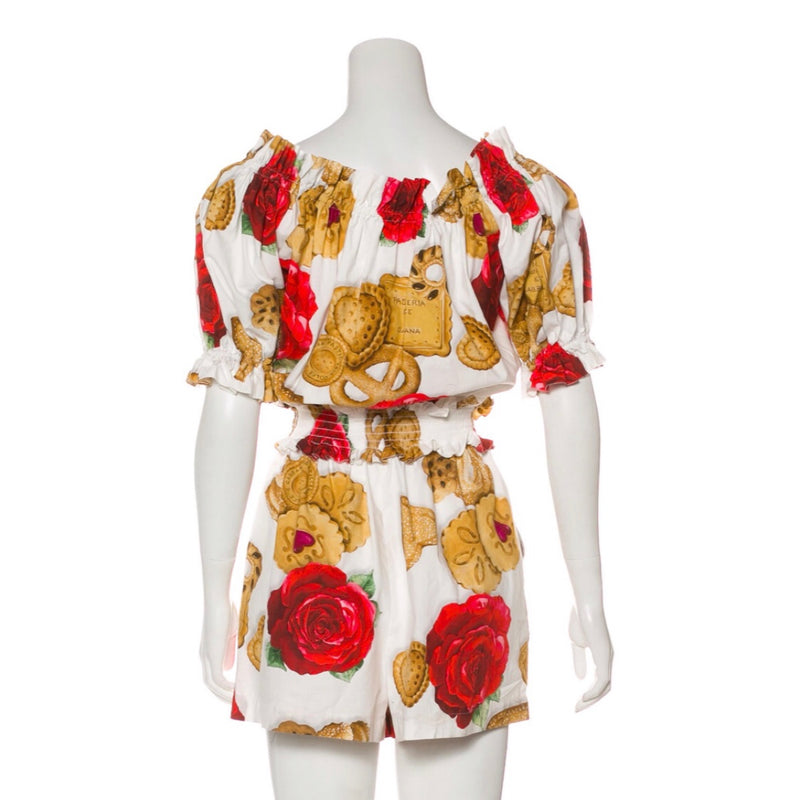 Dolce & Gabbana Printed Off Shoulder Romper