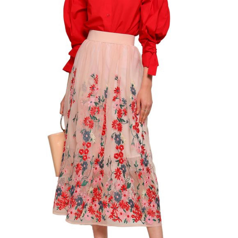 Maje Jamie Embroidered Tulle Midi Skirt