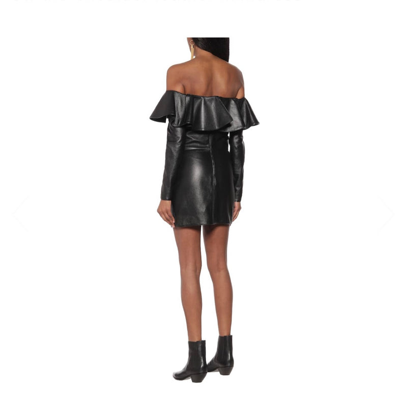 Saint Laurent Leather Off Shoulder Dress