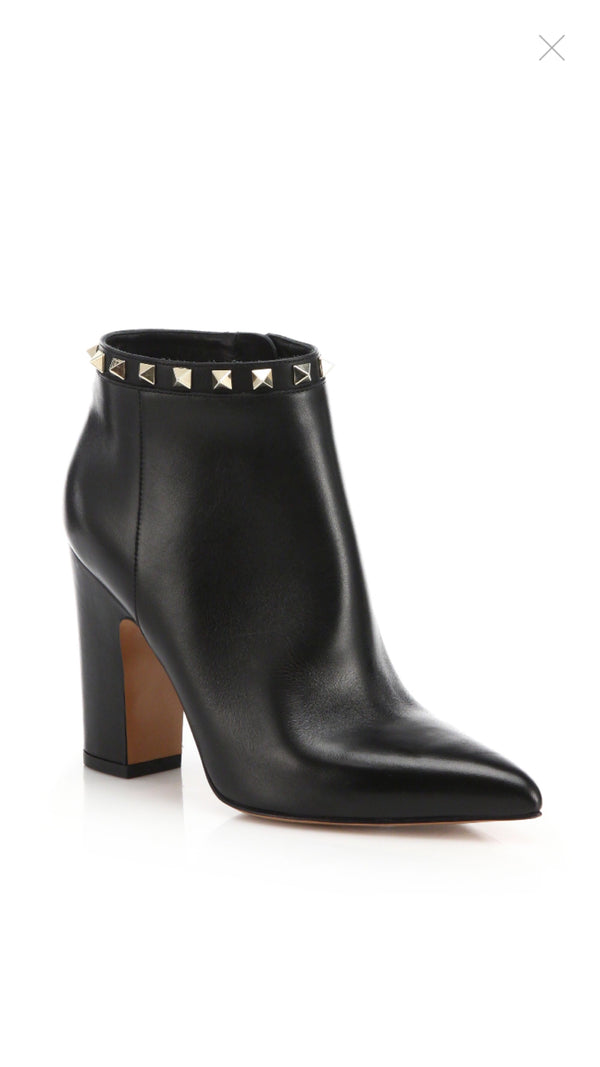 Valentino Rockstud Leather Point Toe Booties