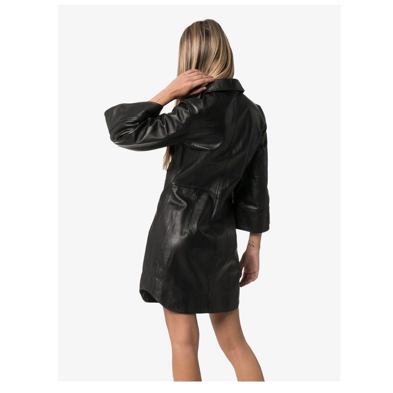 Ganni Wide Sleeve Leather Mini Dress
