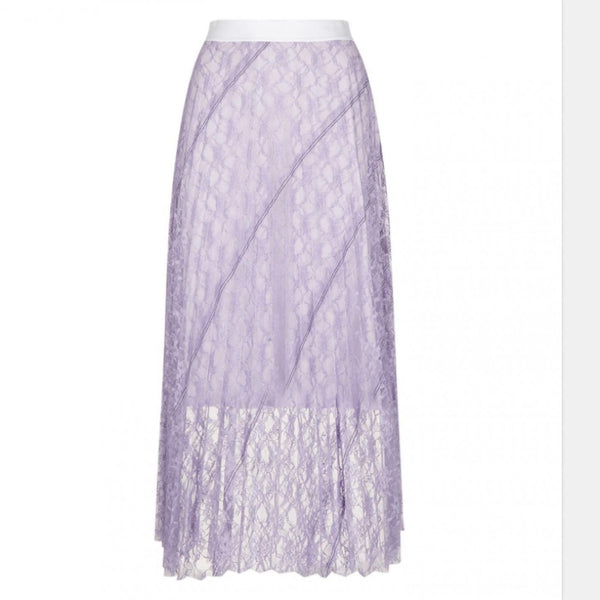 Sandro Pleated Lace Midi Skirt
