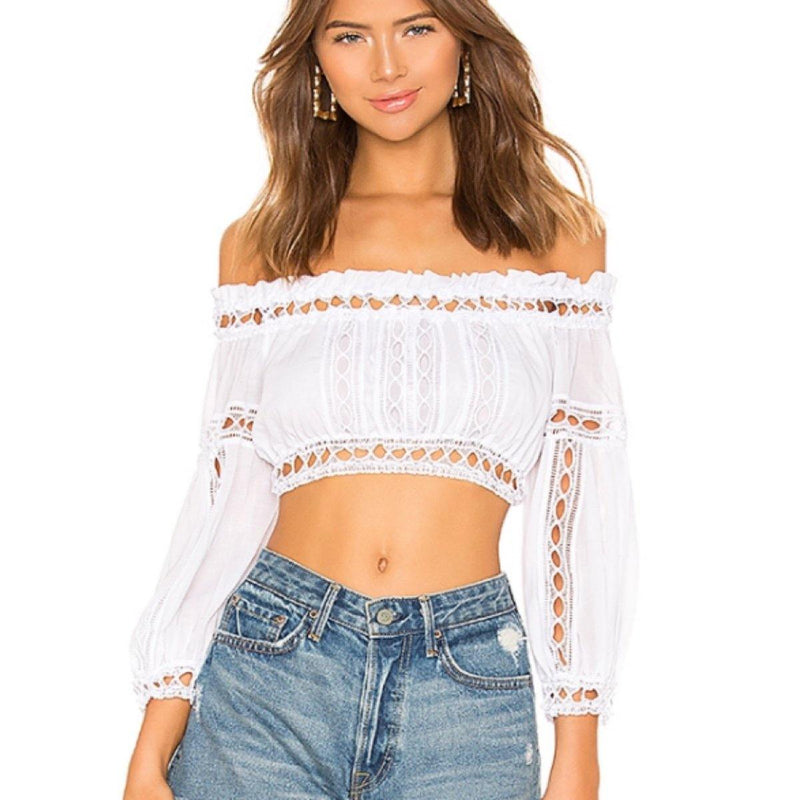 Charo Ruiz Ibiza Alova Off-the-shoulder Crop Top