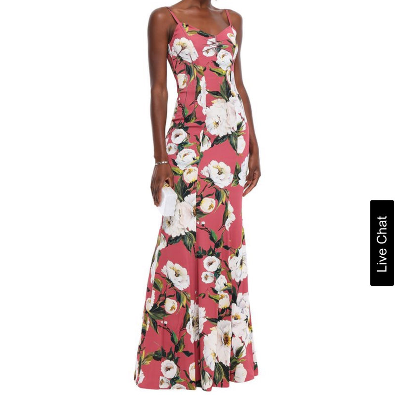 Dolce & Gabbana Antique Rose Floral Print Silk Blend Gown
