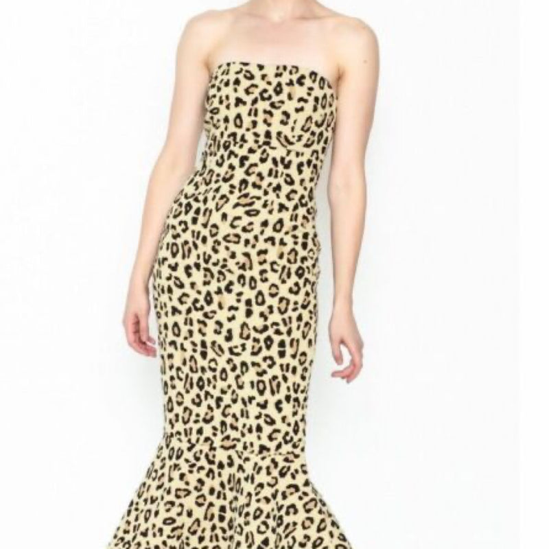 Cinq à Sept Leopard Luna Strapless Midi Dress