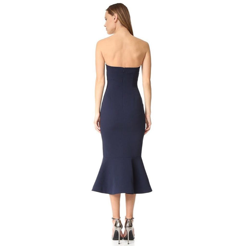 Cinq à Sept Luna Strapless Navy Midi Dress