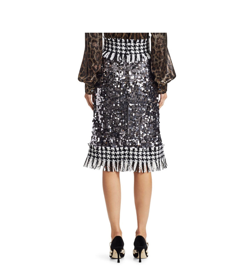 Dolce & Gabbana Paillette Sequin Tweed Skirt