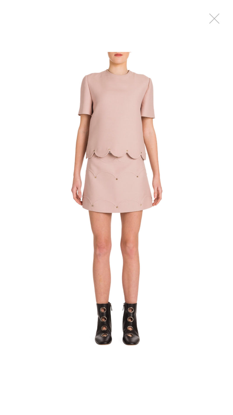 Valentino Rockstud Scalloped A-Lined Skirt