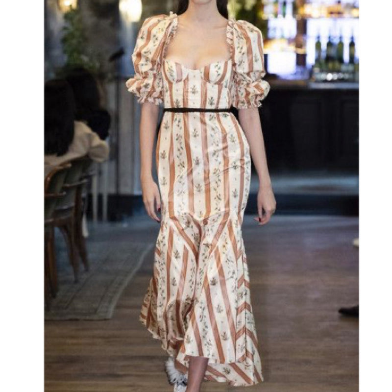 Brock Collection Ruffled Floral Taffeta Maxi Dress