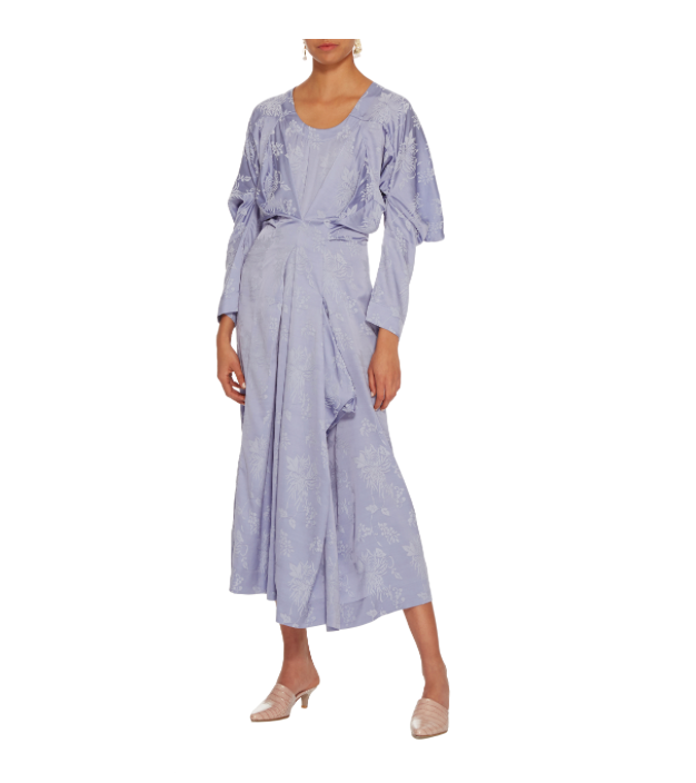Loewe Asymmetric Draped Floral-Jacquard Dress